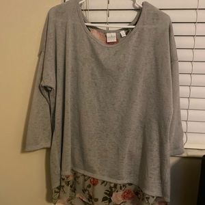 NY&C Loose Grey Sweater with Floral Print